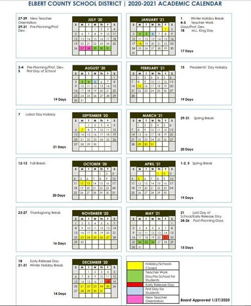 EC Board Approved Academic Calendar for 2020-2021 School Year